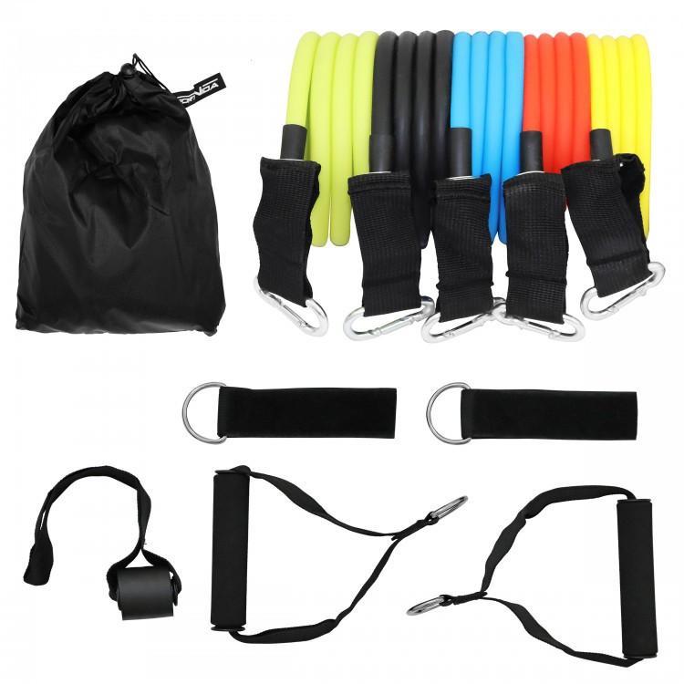 Набор эспандеров с ручками SportVida 4- 22 кг для фитнеса и реабилитации 5 шт (SV-HK0351)