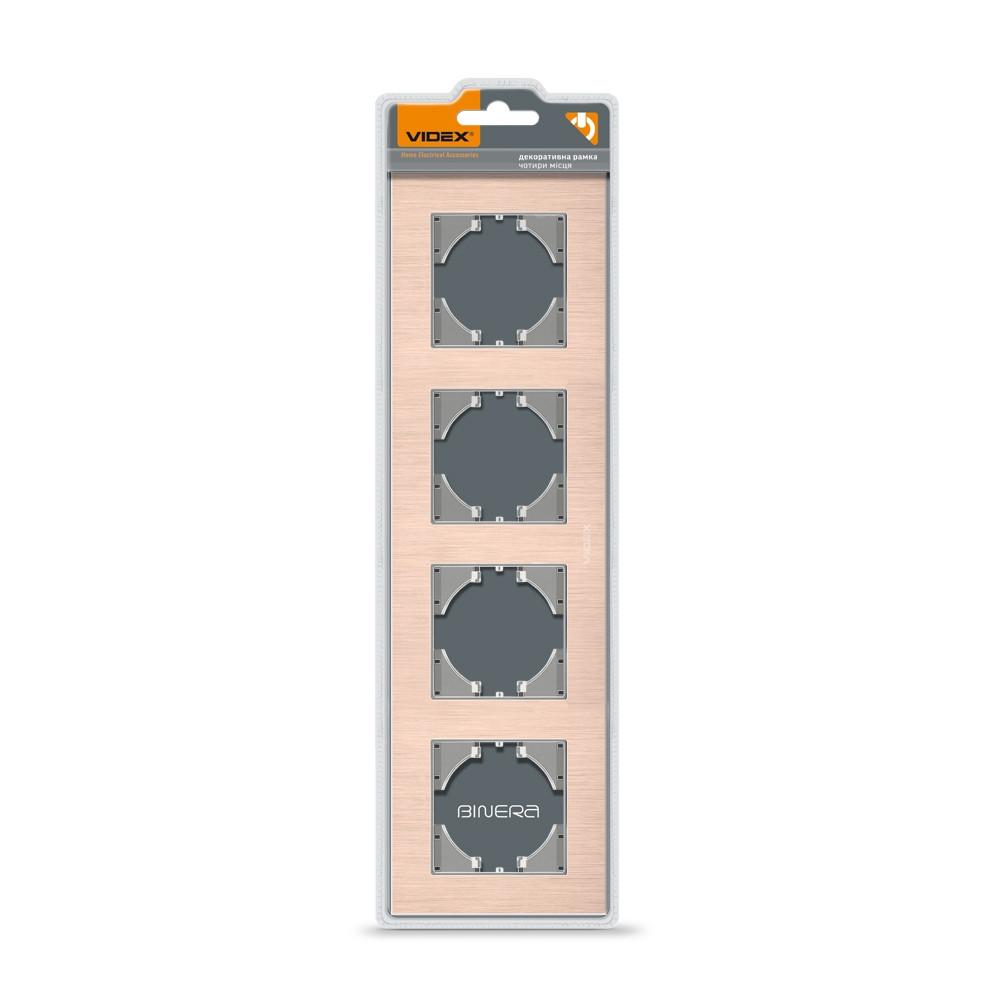 VIDEX BINERA Рамка медный алюминий 4 поста горизонтальная (VF-BNFRA4H-CP) 24920