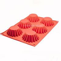 Силиконовая форма для выпечки в духовке (Солнце) / Силіконова форма для випічки в духовці 6шт - красный