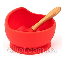 Силиконовая Тарелка на Присоске с Ложкой для Детей 350 мл Красная