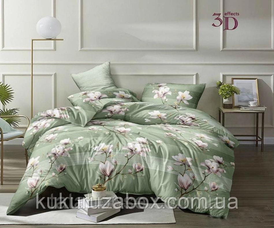 Двуспальный комплект постельного белья «Магнолия» с  простыней на резинке  160х200 см из сатина