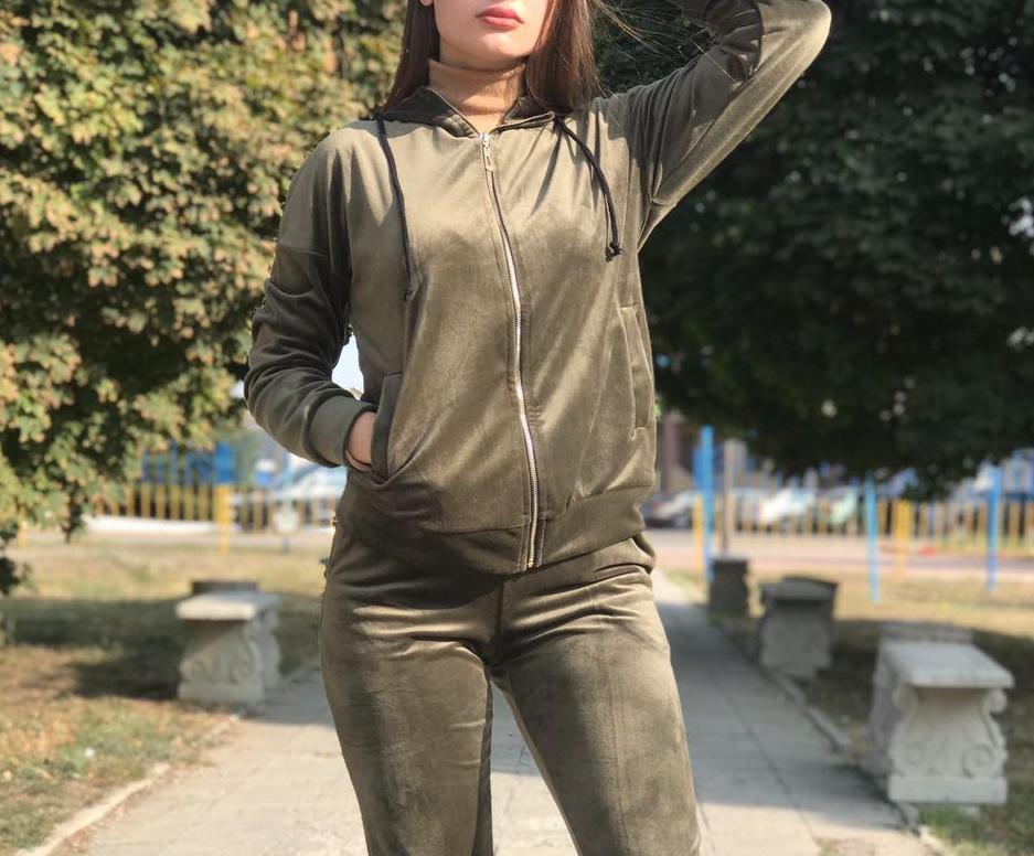 Спортивный костюм женский BR-S велюровый хаки 46 р. (1260674783)