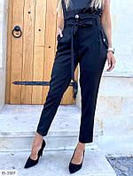 Укороченные деловые женские брюки с поясом арт 128