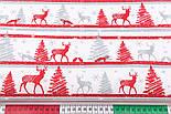 """Тканина новорічна """"Червоно-сірі олені і ялинки на смугах"""", №2958, фото 2"""