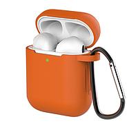 Силіконовий чохол з карабіном для Apple AirPods, Deep orange помаранчевий