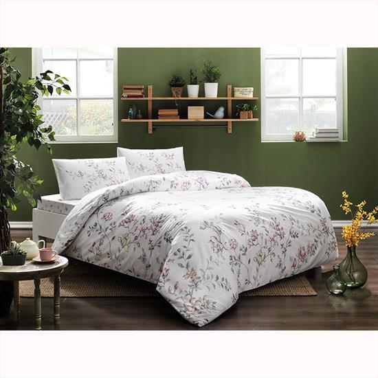 Комплект постельного белья Tac ранфорс Julianne V01 полуторный розовый (TAC60229070)