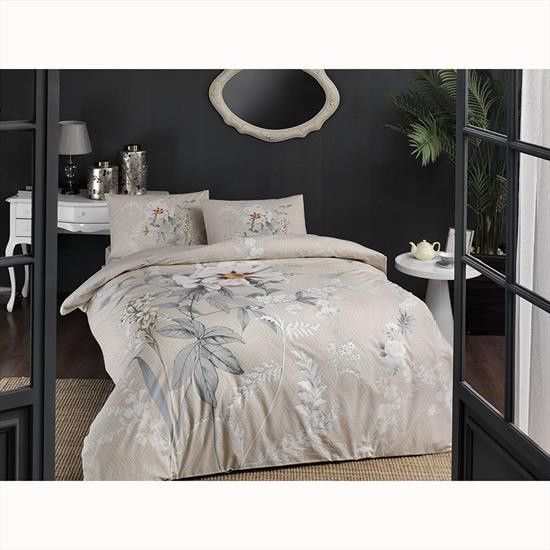 Комплект постельного белья Tac ранфорс Frida V03 евро кремовый (TAC60229778)