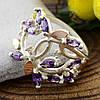 Серебряное кольцо с золотом Эвелина вставка белые фианиты вес 5.0 г размер 18, фото 3