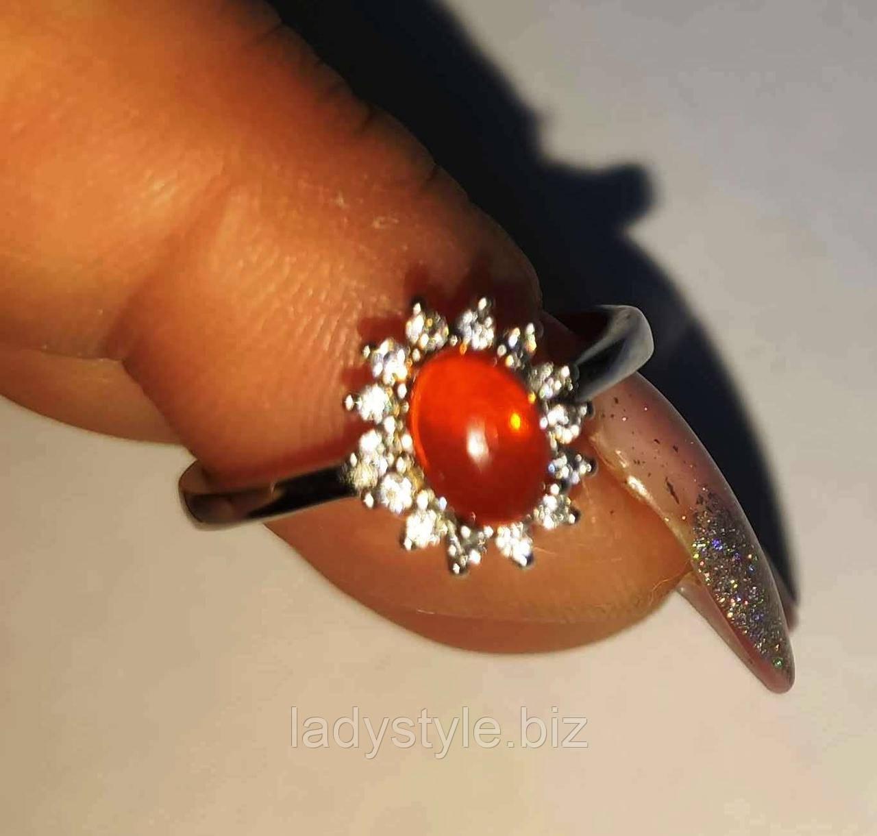 Серебряное кольцо с натуральным  огненным опалом , размер 17.3 , от студии LadyStyle.Biz