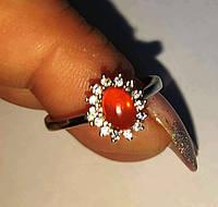 Серебряное кольцо с натуральным  огненным опалом , размер 17.3 , от студии LadyStyle.Biz, фото 1