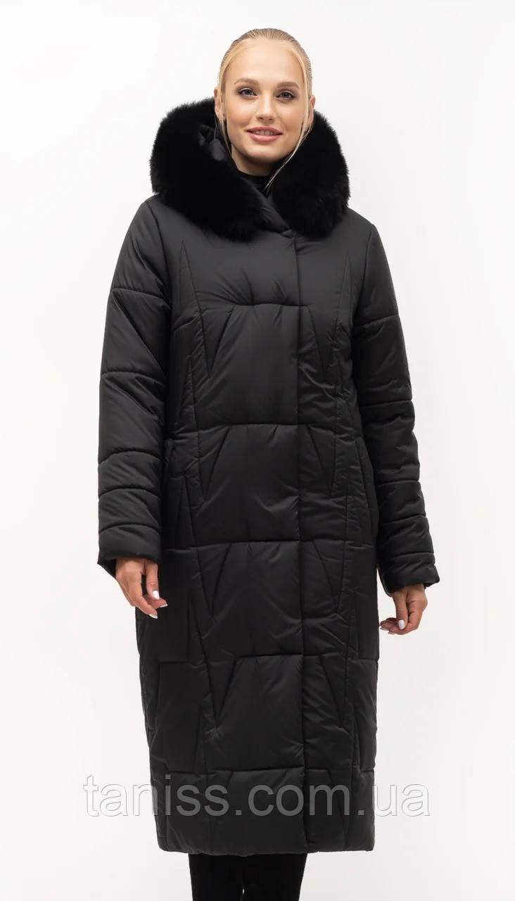 Женский зимний пуховик большого размера, капюшон вшитый, р-ры с 46 по 56,черный песец (151)