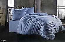 Комплект постельного белья Zugo Home сатин однотонный Aqua полуторный аква (ts-02231)