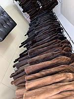Женский норковый жилет длинный безрукавка коричневого натурального окраса размер XL 52