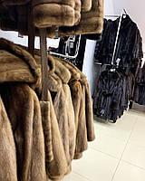 Женская норковая безрукавка жилетка коричневого цвета поперечка L XL
