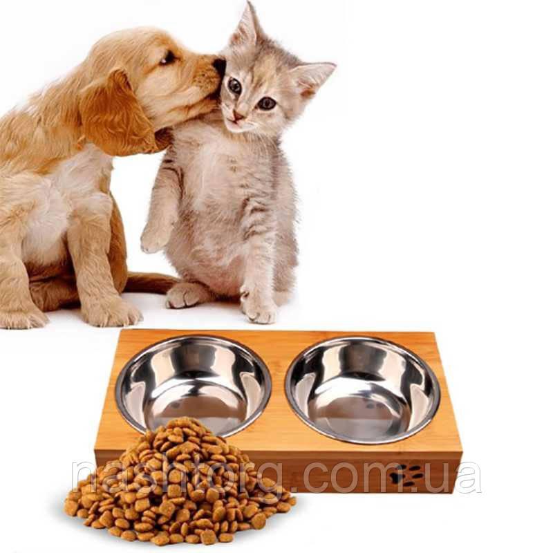 Двойная миска на бамбуковой подставке для кошек, собак, железные миски для животных с доставкой