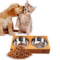 Двойная миска на бамбуковой подставке для кошек, собак, железные миски для животных с доставкой (SH), фото 1