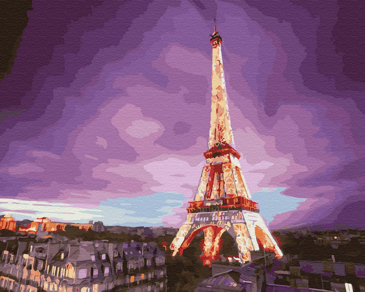 """Картина по номерам """"Эйфелева башня на закате"""" 40 x 50 cм"""