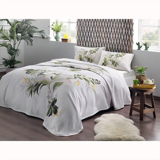 Комплект постельного белья с пике Tac Juno V01 yesil полуторный зеленый (TAC60227320)