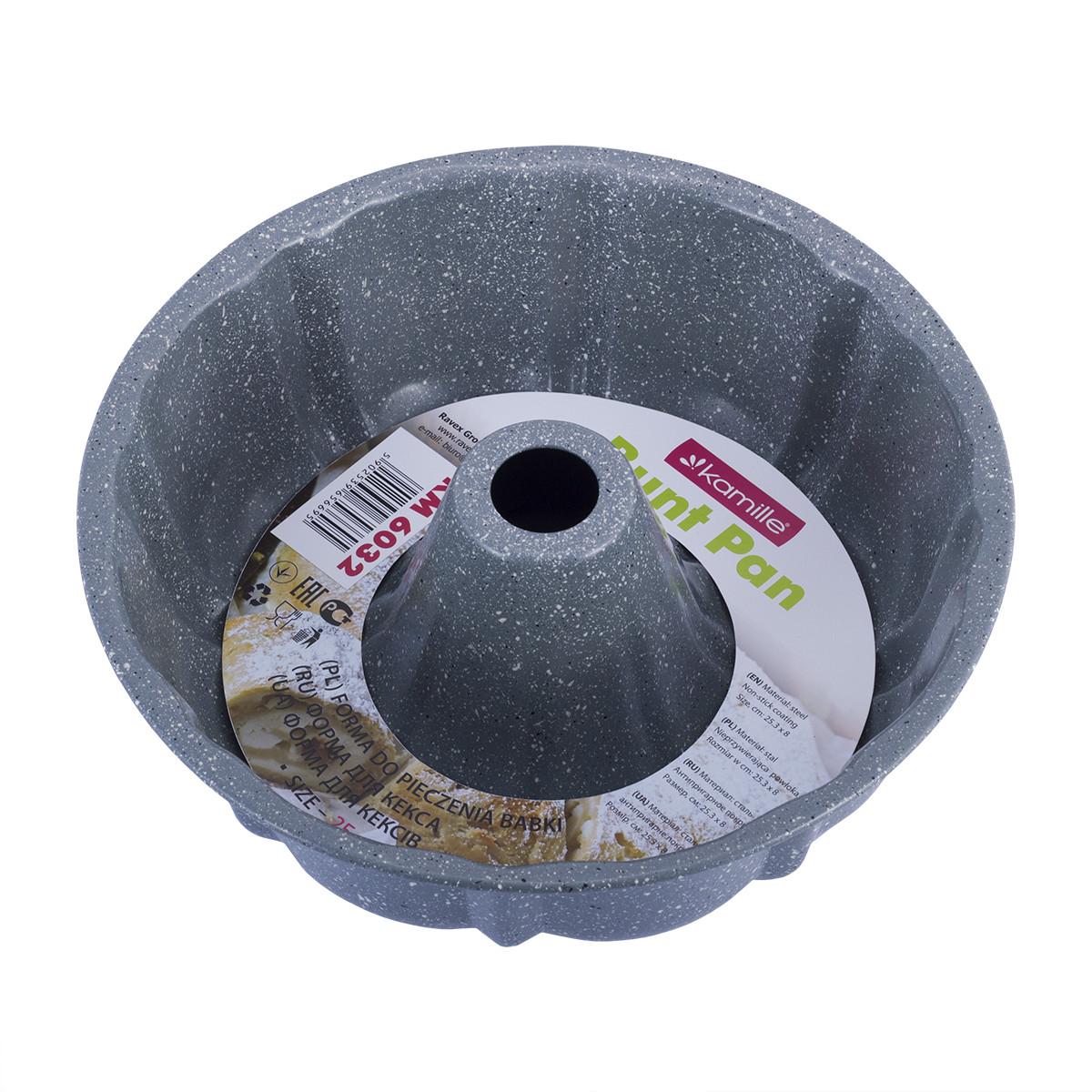 Форма для выпечки Kamille Голубой 25см с антипригарным покрытием мрамор из углеродистой стали KM-6032