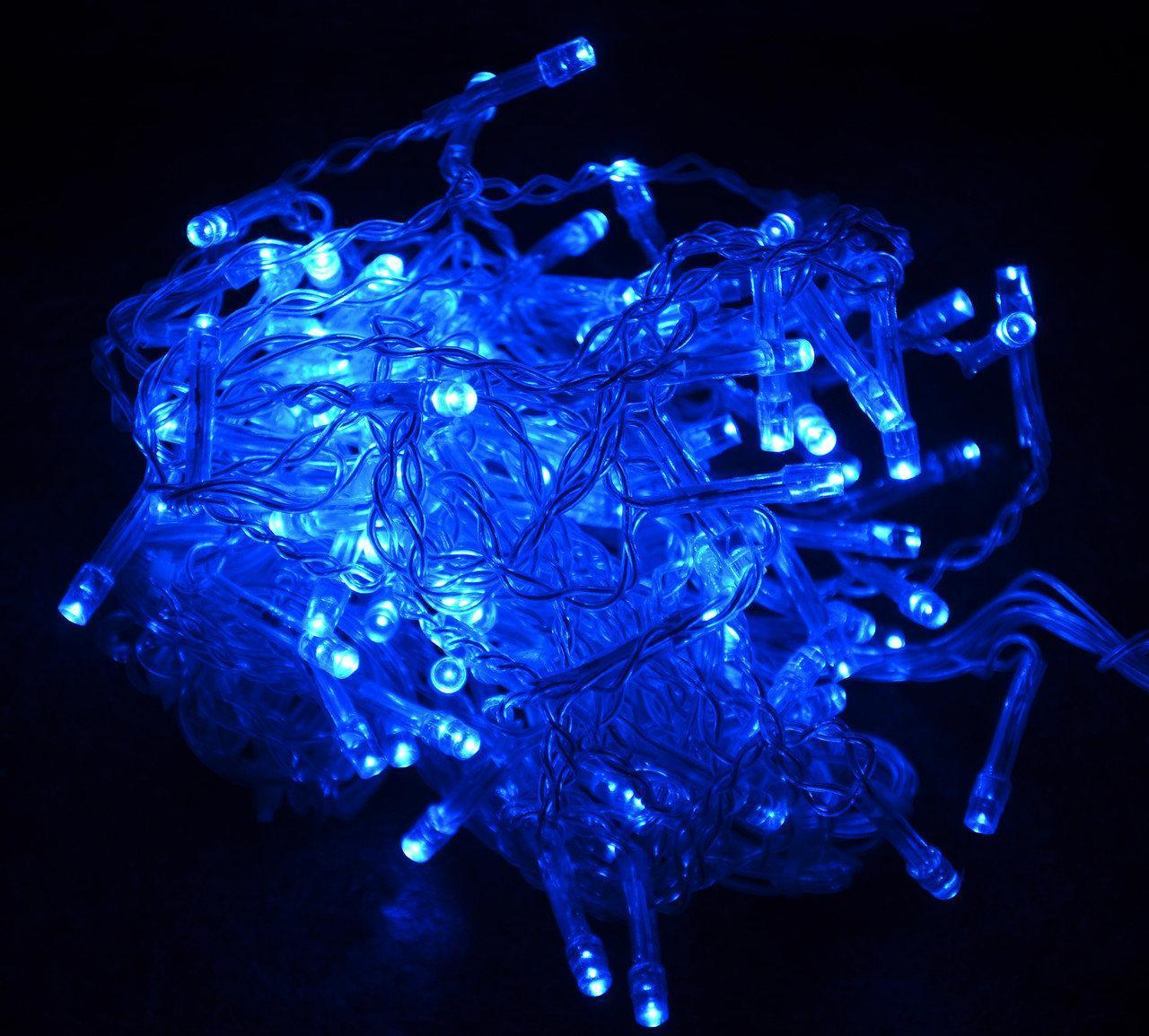 Гирлянда прозорий шнур 300 Led,синя
