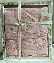 Набор махровых полотенец Sikel кружево Love 30*50 + 50*90 + 70*140 розовый (ts-01473)