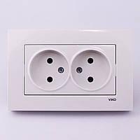 Розетка електрична VI-KO Karre прихованої установки подвійна без заземлення (біла)