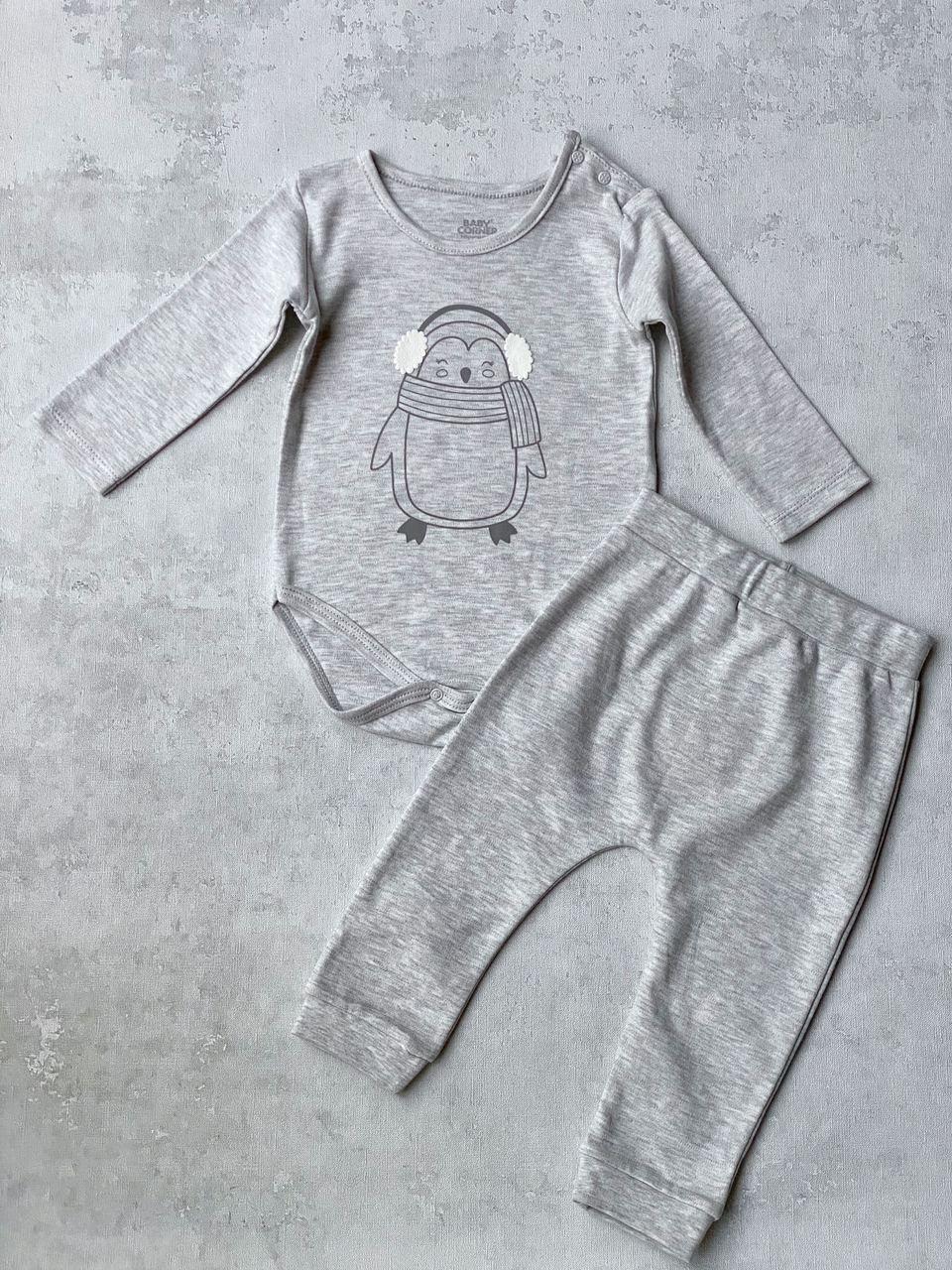 Комплект боді і штани, унісекс, розмір 9/12 міс