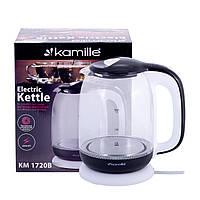 Чайник Kamille 1,7 л електричний з боросилікатного скла KM-1720B