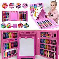 Детский набор для рисования и творчества 208 предметов в кейсе с ручкой и мольбертом Розовый
