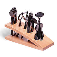 Набір аксесуарів для бару Kamille 5 предметів на дерев'яній підставці KM-5086