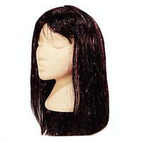 Парик чёрный из длинных искусственных волос, карнавальный