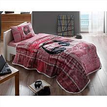 Комплект постельного белья с пике Tac Listen V02 pembe полуторный розовый (TAC60176386)