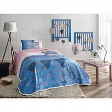 Комплект постельного белья с пике Tac Lacy V01 mavi полуторный голубой (TAC60176383)