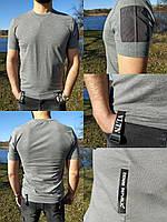 Брендовая серая мужская футболка со вставками - 63022