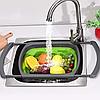 Универсальный большой кухонный силиконовый складной дуршлаг с ручками  Leach basket (W80) Ситечко для кухни, фото 6