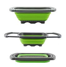 Универсальный большой кухонный силиконовый складной дуршлаг с ручками  Leach basket (W80) Ситечко для кухни, фото 3
