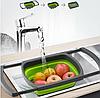 Универсальный большой кухонный силиконовый складной дуршлаг с ручками  Leach basket (W80) Ситечко для кухни, фото 5