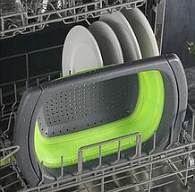 Универсальный большой кухонный силиконовый складной дуршлаг с ручками  Leach basket (W80) Ситечко для кухни, фото 2