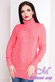 Жіночий светр під горло коралового кольору (р. УН - S, M, L) арт. Е-17-14/20065