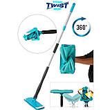 Швабра лентяйка с автоматическим отжимом для быстрой уборки Titan Twist Mop Чудо швабра 360 Синяя титан моп, фото 3