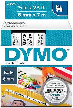 Картридж системи D1 для термопринтерів DYMO, стрічка 6мм x 7м, чорний на білому, S0720780/43613