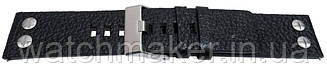 Черный кожаный ремешок для часов зерно буйвола, винтовыми заклепками 22 мм(22мм)