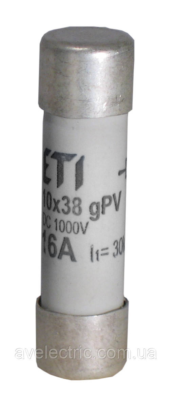 Запобіжник CH 10x38 gPV 16A 1000V (10kA)