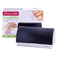 Хлебница Kamille 38.5см из нержавеющей стали с откидной крышкой из пластика KM-1114