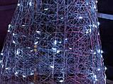 Ялинка металева з гірляндою, залізна, лофт, loft, живлення від мережі 220ВТ, 100 LED, 45 див., настільна., фото 2