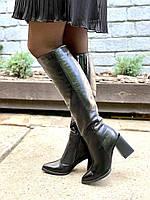 Жіночі шкіряні чоботи чорні демисезон