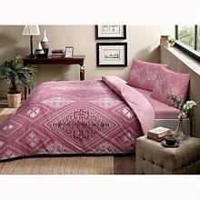 Комплект постельного белья Tac ранфорс Silva V01 gul kurusu полуторный грязно розовый (TAC60218971)