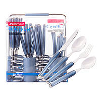 Набір столових приладів Kamille Синій 25 предмета з нержавіючої сталі з пластиковими ручками і підставкою