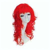 Красный парик из искусственных длинных вьющихся волос