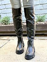 Женские кожаные ботфорты черные, фото 1